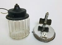 Vintage Light Fixtures Shade Ribbed Glass Globe, & Wall Mount Base Lot of 2