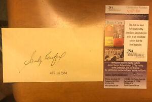 Sandy Koufax Signed/autographed LA Dodgers Index Card Cut JSA Cert