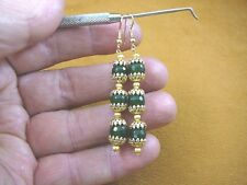(ee404-61) 8 mm Green Jade Canada gemstone 3 beaded + gold caps dangle earrings