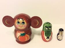 Russian Hand Painted Nesting Doll Matryoshka Cheburashka 3 pcs Piece Set  #5