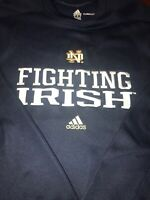 NOTRE DAME UNIVERSITY Sweatshirt By ADIDAS CLIMAWARM XL Blue Embroidered IRISH