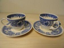 Villeroy & Boch Germany SAAR Burgenland Blue & White 4pc China Tea Cup Set