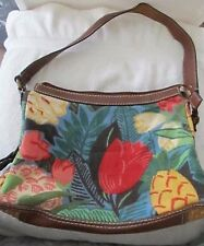 EUC Fossil Cloth Leather Tropical Floral Muted Tones Shoulder Purse Handbag!