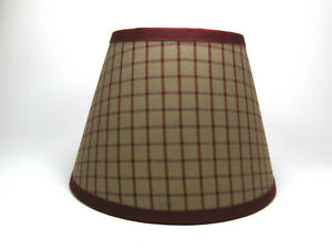 Country Primitive Burgundy Window Plaid Homespun Fabric Lampshade Lamp Shade