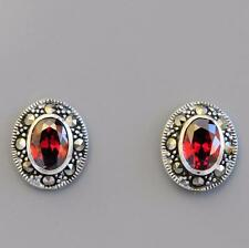 STERLING SILVER MARCASITE & GARNET STUD EARRINGS