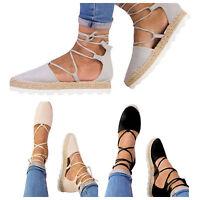 Womens Sandals Flats Beach Ankle Strap Lace Up Summer Platform Shoes Size 6-10.5