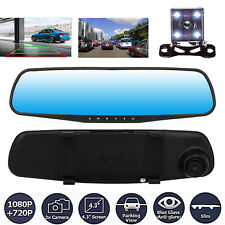 """HD 1080p 4,3 """" GPS Dual Lentilente Auto Videocamera Specchietto Retrovisore Cam"""