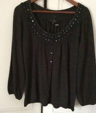 Ladies Principles Cotton Cashmere Cardigan Sequin Charcoal,Size16 New