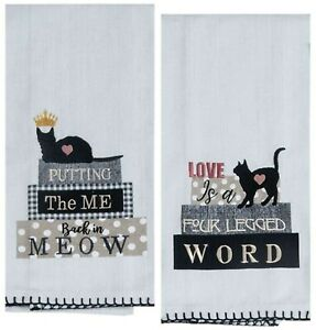 2 Black Cat Kitchen Decor Hand Dish Tea Towels Set Kitten Lover Kay Dee Designs