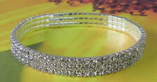 Silver Toned Stretch Anklet 3 Line Clear Rhinestone