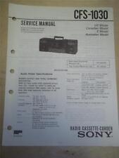 Sony Service Manual~CFS-1030 Boombox Radio Cassette-Corder~Original~Repair