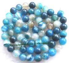"Blue Stripe Agate 6mm Round Gemstone Beads 15"""
