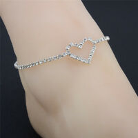 New Crystal Rhinestone Love Heart Anklet Women Ankle Bracelet Chain Jewelry New