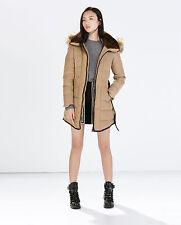 Zara Women Jacket Long Down Anorak With Piping Parka Puffer XL