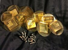 CELLULOID VINTAGE BRASS RAISED DESIGN DRAWER PULLS VINTAGE MID CENTURY 10 PIECE