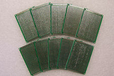 """10 PCS 2""""X 2 3/4"""" DIY PROTOTYPE PC BOARDS 5 X 7 CM DOUBLE SIDED WITH FEEDTHROUGH"""