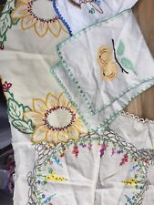 Vintage Lace Linen Hand Embroidered - Job Lot 4 Pieces