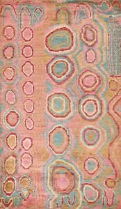 Contemporary Geometric Abstract Oriental Area Rug Jute Hand-knotted Carpet 6x9