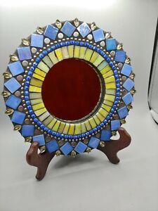 Zetamari Mosaic Artworks Angie Heinrich Sparkling Jewel Line Blue Round Mirror