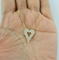14K Yellow Gold Diamond Open Heart Pendant Necklace