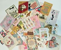 Lot 40 Vintage Birthday Greeting Cards Used Lot Scrapbook Crafts 1950, 60s, 70s