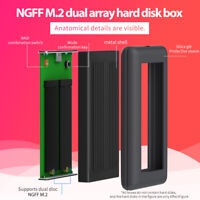 External ssd hard disk case M.2 to type-c usb 3.1 NGFF support raid double disk