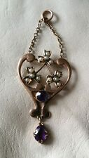 Antique Art Nouveau ct 1900 9ct Gold Beautiful Seed Pearl & Amethyst Pendant.
