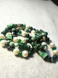 RARE Carved Real Spinach Jade Jadeite Pearl Emerald Shou Chinese Necklace