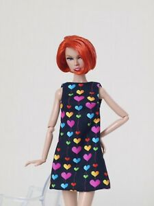 Black heart printed A silhouette dress for Poppy Parker, Nu face by Olgaomi