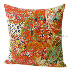 """Indian Patchwork  Orange Pillow Cushion Cover Bohemian Kantha 16X16"""" Inches Case"""