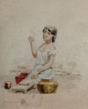 TEXAS Rare PAINTING Watercolor ~ ROBERT JENKINS ONDERDONK ~ Signed MEXICAN WOMAN