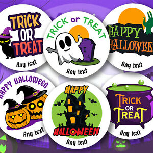 Personalised Happy Halloween & Trick or Treat Stickers sweet Cone Labels