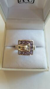 Sterling Silver 925 - Amethyst Cluster Buckle Ring Size 6 - 5.5g