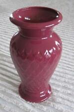 "York Pottery 10"" Maroon Fish Scale Vase #312 Older Keystone Mark"