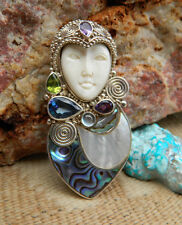 SAJEN Pin or Pendant Goddess Face Sterling Gem Stone Abalone & MOP