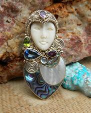 SAJEN Pin or Pendant Goddess Face Sterling Gem Stone Abalone & MOP