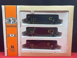 CON-COR N 45' HOPPER WAGONS 3 PACK CHESSIE - C & O - B & O - WM BOXED