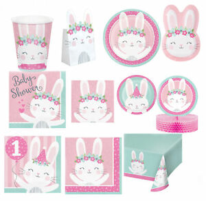 Pink Birthday Bunny Party Decoration Tableware Age 1 | 1st Birthday Baby Shower