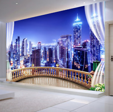 3D Window City Night View Self-adhesive Sitting Room Wallpaper Wall Murals