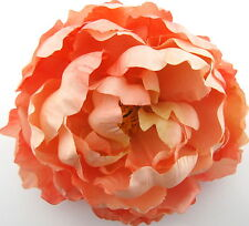 "Large 5"" Peach Peony Silk Flower Hair Clip, Weding, Prom, Dance, Prom"