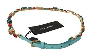 DOLCE & GABBANA Belt Blue Leather Multicolor Crystals Waist 85cm/ 34in / M $1000