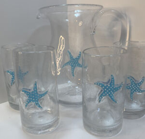 4 Drinking Glasses And Serving Pitcher,Blown Ocean Blue Infused Starfish.