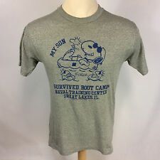 Vtg 70s 80s Paper Thin Snoopy Army Military Boot Camp T Shirt Rayon? USN Navy