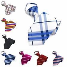 8CM Lazy Men's Zipper Necktie Striped Casual Formal Wedding Zip Up Neck Ties