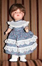"12"" Vintage Composition Doll Tin Brn Eyes Unmarked New Wig Redressed Bin"