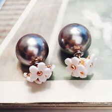 Fashion Womens Jewelry Double Sided Pearl Daisy Big Ball Beads Ear Stud Earrings