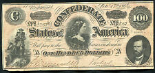 """T-65 1864 $100 ONE HUNDRED CSA CONFEDERATE STATES OF AMERICA """"LUCY PICKENS"""""""