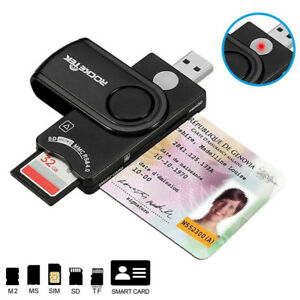 USB 2.0 Micro SD TF Smart Card Reader Adapter For ID Bank SIM DOD CAC IC ATM