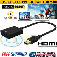 HD 1080P USB3.0 to HDMI Converter Cable Card Multi Monitor For Laptop Windows 10