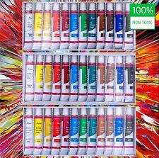 12 x 12ml ArtValli Watercolour Oil Gouache Acrylic Color PAINT TUBES & Brush SET
